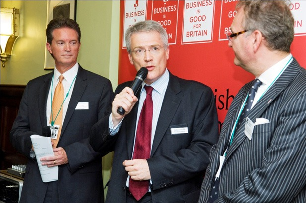 Andrew Jones MP speaks to guests alongside Mike Glenn, European Managing Director, CH2M HILL, on the left, and John Longworth, Director General of the BCC, on the right.