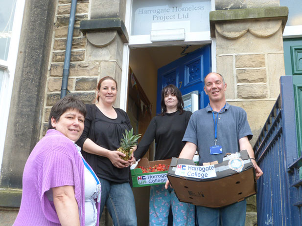 From left to right: Harrogate College Head of  Operations – Julie Stephenson, Harrogate Homeless Project Manager – Liz Hancock, Harrogate Homeless Client Aylene and Hostel Worker Paul Noutch.