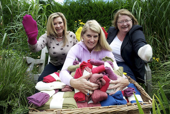 Claire King, Selina Scott and Rosemary Shrager at RHS Harlow Carr gardens