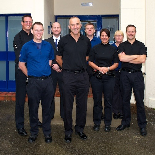 Chief Constable Tim Madgwick (centre) with some of the Harrogate Safer Neigbourhood