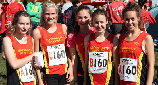 In the photo L-R Claire Jones, Lauren Woodhall, Millie Gray, Lucy Ireland and Millie Howard
