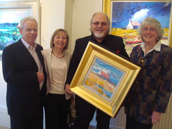 (from left) Ian and Shirley Walker, of Walker Galleries; artist John Lowrie Morrison OBE; and Anne Smyth, founding Director of the Carers' Resource