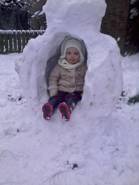 2 year old Izzy sitting in her snow chair in Markington! by Mum Becci