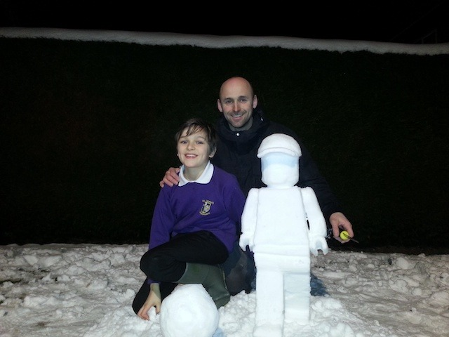 Snowman, me and my son Harvey made in his grandmother's back garden in jennyfields by Richard Fullerton