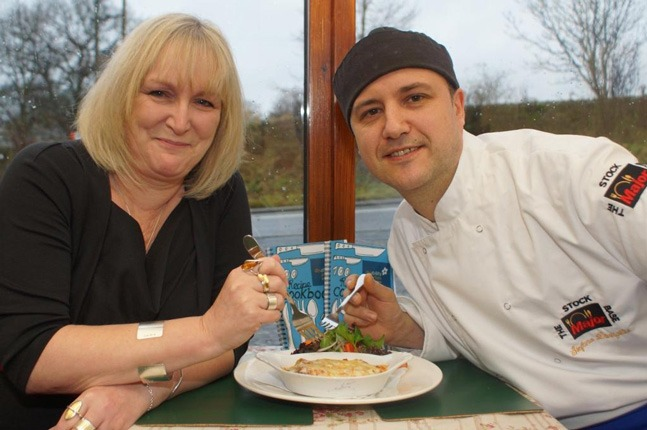 Recipe For Success! Darley Mill Centre head chef Stefano di Virgilio and Disability Action Yorkshire chef executive Jackie Snape tuck into a helping of Darley Mill Lasagne!