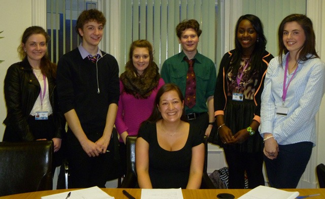 With solicitor Helen Howard, front, are the St Aidan's defence team, from left, Beth Eyre, Jonnie Barrow, Hannah Russell, Olly Robinson, Enyo Agada and Lauren Barclay.