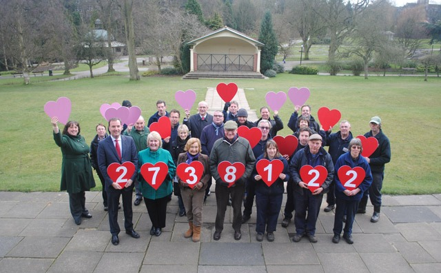 The Parks Team showing the visit numbers in 'hearts and flowers' just in time for Valentine's Day.  They are joined by Cllr Pat Jones, the Council's Cabinet Member for Cultural Services, Jane Blayney Chair of Friends of the Valley Gardens, Patrick Kilburn and Peter Banks.