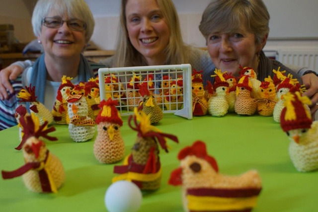 Up for the cup . . .(from left) Angela Lloyd-Roberts, Louise Flint and Lucy Tiffany, part of the Harrogate volunteering team at the Carers' Resource who knitted the chick covers