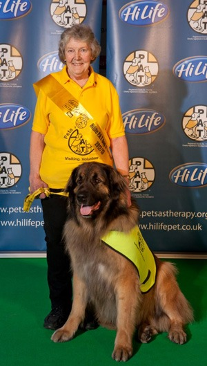 PaT Dog Scrabble and his proud owner - Ann Burrell