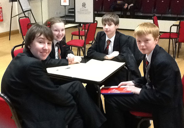 from left Jack Hennighan year 9, Albert Jennings year 9, Will Giddings year 9 and Eleanor Watkin Year 9.