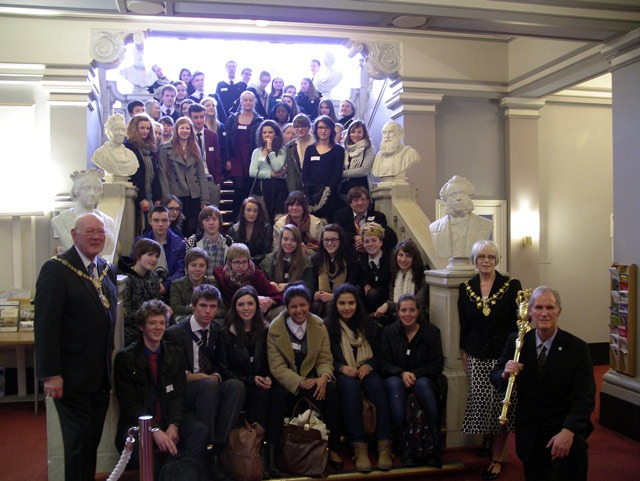 The Mayor, Councillor Windass with students from Harrogate Grammar School and French exchange students at the Town Hall