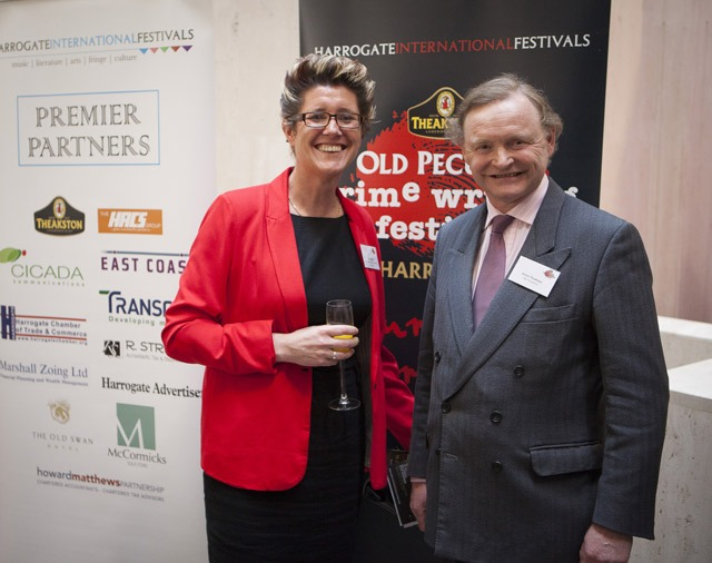 Chairman of Harrogate International Festivals Dr Jill Adam with title sponsor, Simon Theakston