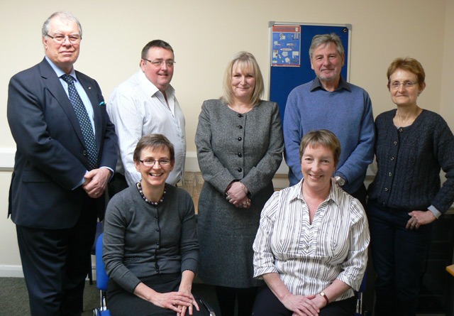 shadow board of trustees which oversaw the project (back row: John Groves, Tony Collins, Jackie Snape, Eric Clark and Lindsey Mitchell) together with Karen Weaver of HACVS and Frances O Riley, Interim CEO at Ripon CVS