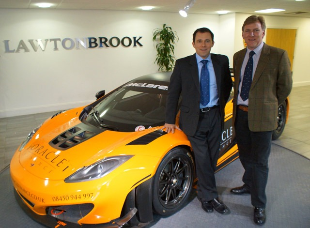Dream Drive! Lawton Brook managing director Peter Brook (left) and senior client manager, Jeremy Saville with the McLaren MP4-12C GT3 race car