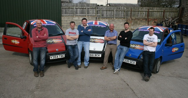 The six Harrogate drivers with their cars