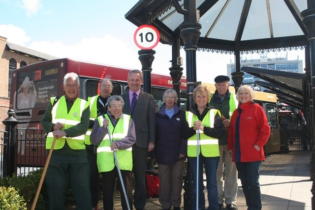 Nigel Eggleton, Transdev's Director of Sales and Marketing is pictured with Pam Grant, President of Harrogate in Bloom and volunteers Chris Beard, Geoff Scurrah, Frances Scurrah, Angela Henson, Mary Bond and  Tony Sissons