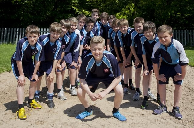 The Under 13s Athletics Team, led by George Widdows, prepare for the A Finals in Hull