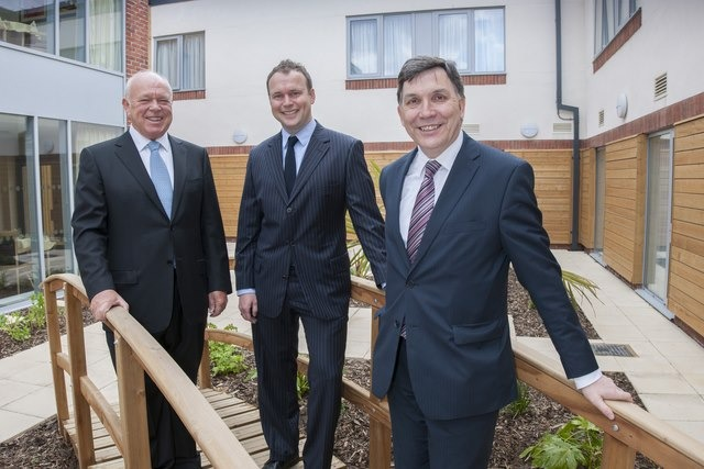 CARE HOMES EXPANSION: Pictured (L to R) at Vida Hall, Starbeck, Harrogate, are Vida Healthcare chairman, Chis Rycroft; managing director, James Rycroft and Yorkshire Bank commercial banking relationship manager, Brian De  Vere