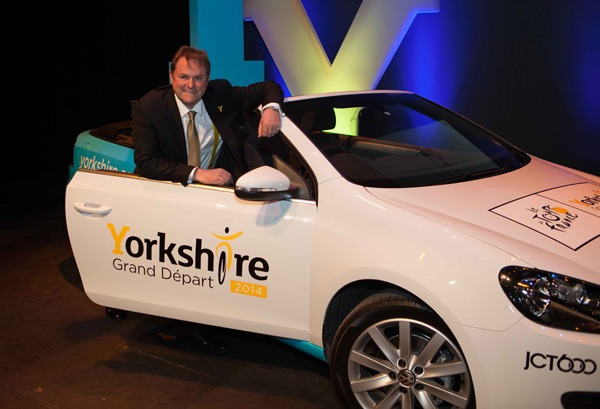 Gary Verity with one of the Tour de France publicity cars for 2013/14