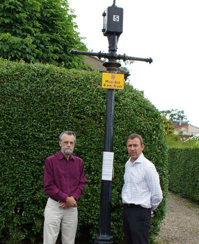 County Coun David Simister (right) and Henry Pankhurst, chairman of Harrogate Civic Society with one of the under threat lampposts