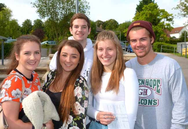 Katy Wignall, Faye Jesper, Josh Rock, Abi Pitts and Dylan Radcliffe collect their AS Level results at Rossett School