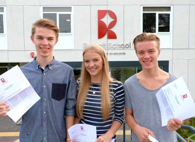 Triplets – Ross, Natasha and James Harrison were all pleased with their grades and will be going on to very different options from September