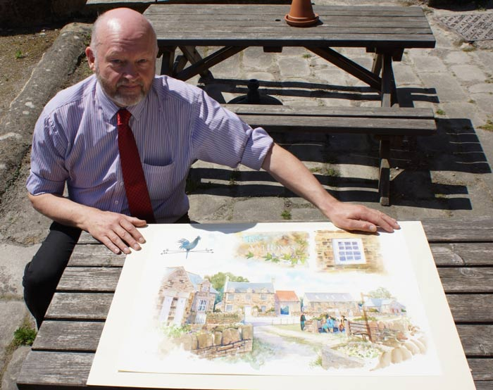 Michael Emsley with the artist's impressions for the land