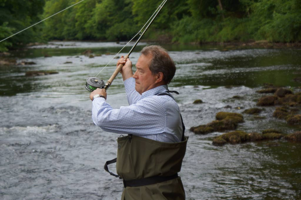 Salmon Fisher! Ure Salmon Trust director Oliver Leatham fishes for salmon on the River Ure