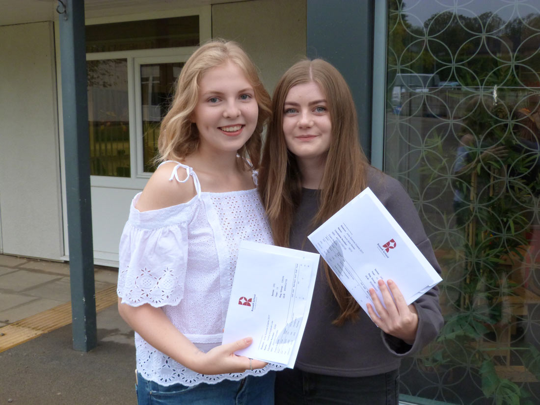 Laura Baxter (BCC) and head girl Sophie Lee (A* A C) will both be going to their first choice universities after collecting their A level results at Rossett School