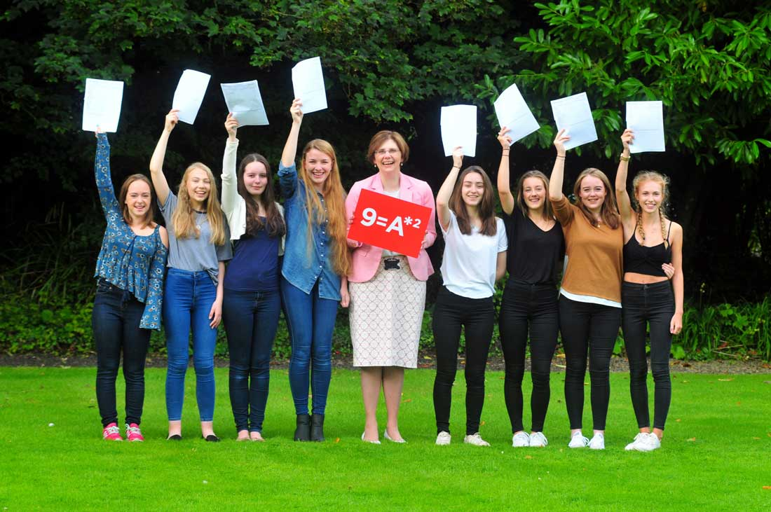 Principal of Harrogate Ladies' College, Sylvia Brett joins pupils to celebrate record breaking GCSE results