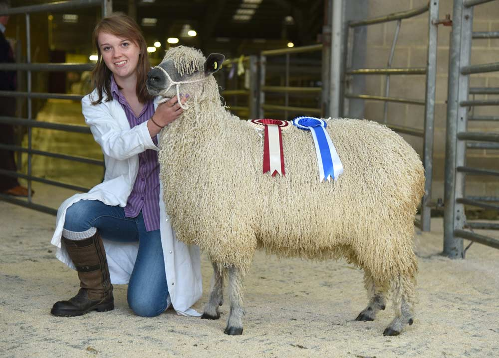 Sophie Oliver with her father Nick's 2017 Skipton Wensleydale reserve champion