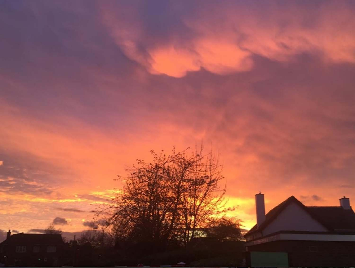 A fiery orange and purple sky over Northallerton on this particular evening