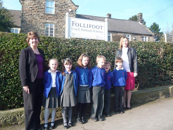 Maureen Benson, pupils of Follifoot CE Primary School,new headteacher Lisa Metcalfe