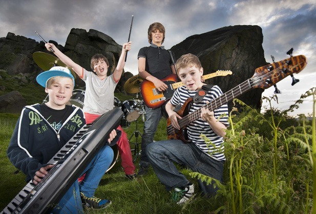 Lucas Rocholl, aged 13, of Harrogate Grammar School with the rest of the band D-LUX get ready to Rock at Utopia the newest nightclub hotspot in Bradford.