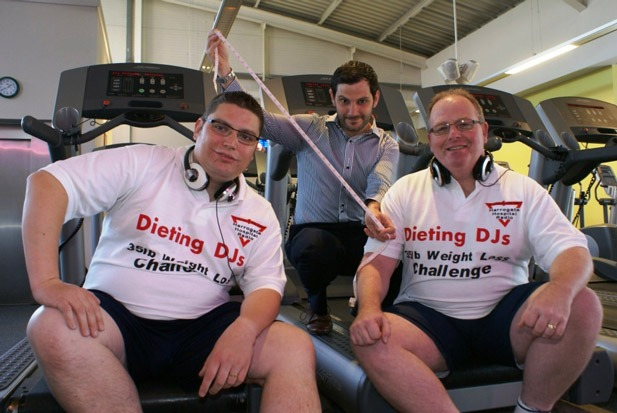 Dieting DJs! Harrogate Hospital Radio presenters Scott Wall (left) and Shaun Gill are supervised by Nuffield Health & Fitness club manager Tom Greaves