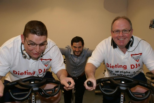 Dieting DJs! Harrogate hospital presenters Scott Wall (left) and Shaun Gill are supervised by Nuffield Health & Fitness club manager Tom Greaves