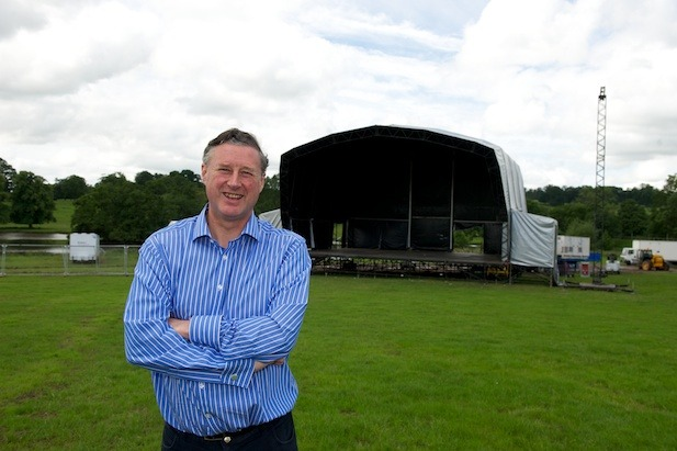 Sir Thomas Ingilby in front of the main stage
