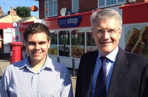 Councillor Alec Brown (left) and Andrew Jones MP welcome the new style post office at Crab Lane, Harrogate.