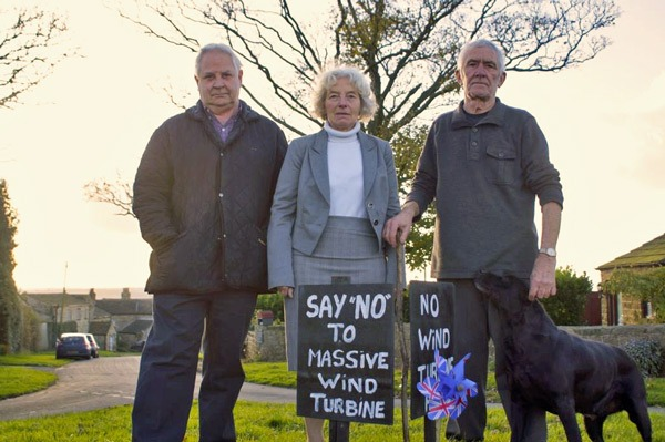 Protecting This Green & Pleasant Land! (from left) Wind turbine protestors Michael Verity and Dorothy and Malcolm Harris, whose houses will be the closest to the Kearby wind turbine
