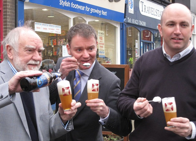 Eric Lucas from Daleside Brewery pictured with Simon Morris of Raworths and ice cream innovator, Alex Leishman