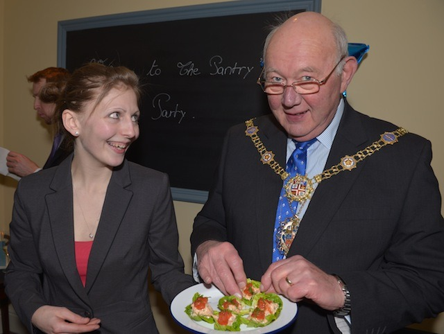 The Mayor of Harrogate Robert Windass with Front of House Manager and Sommelier, Lydie Jeannerod