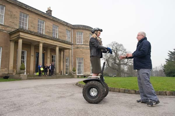Catherine Reid from Nestle trying out a Segway provided by Off Limits Corporate Events