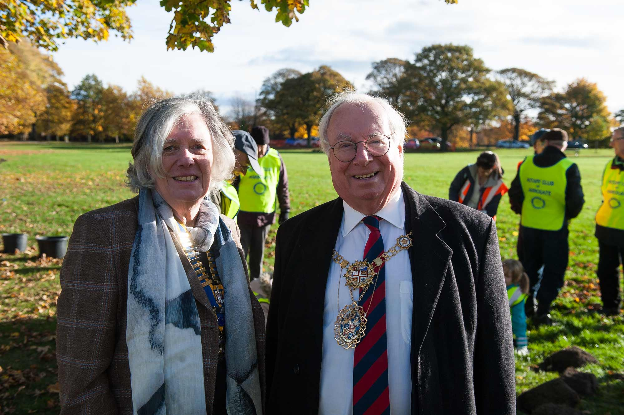 Harrogate Rotary Club President, Margaret-Ann De Courcey-Bayley with the Mayor of Harrogate, Nick Brown