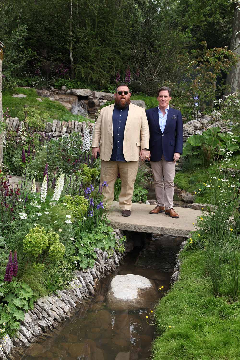 Nick Frost and Rob Brydon on the Welcome to Yorkshire garden at Chelsea Flower Show 2018, designed by Mark Gregory for Landformconsultants.co.uk