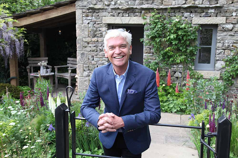 Phillip Schofield on the Welcome to Yorkshire garden at Chelsea Flower Show 2018, designed by Mark Gregory for Landformconsultants.co.uk