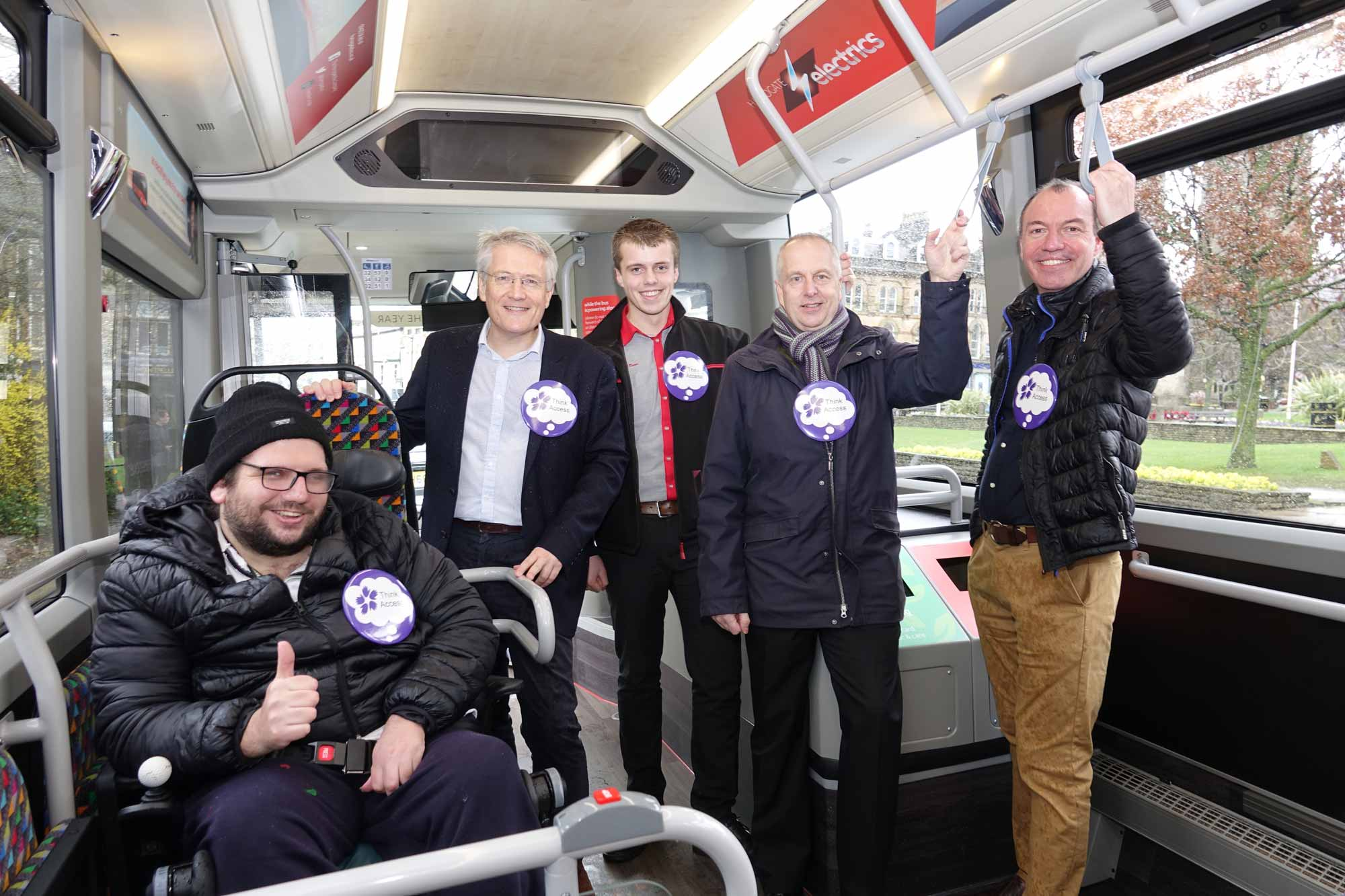 Disability Action Yorkshire customer Darren Asquith, MP Andrew Jones, Transdev service delivery manager Andy Turnbull, Disability Action Yorkshire chairman Neil Revely and Harrogate Borough Council leader Richard Cooper