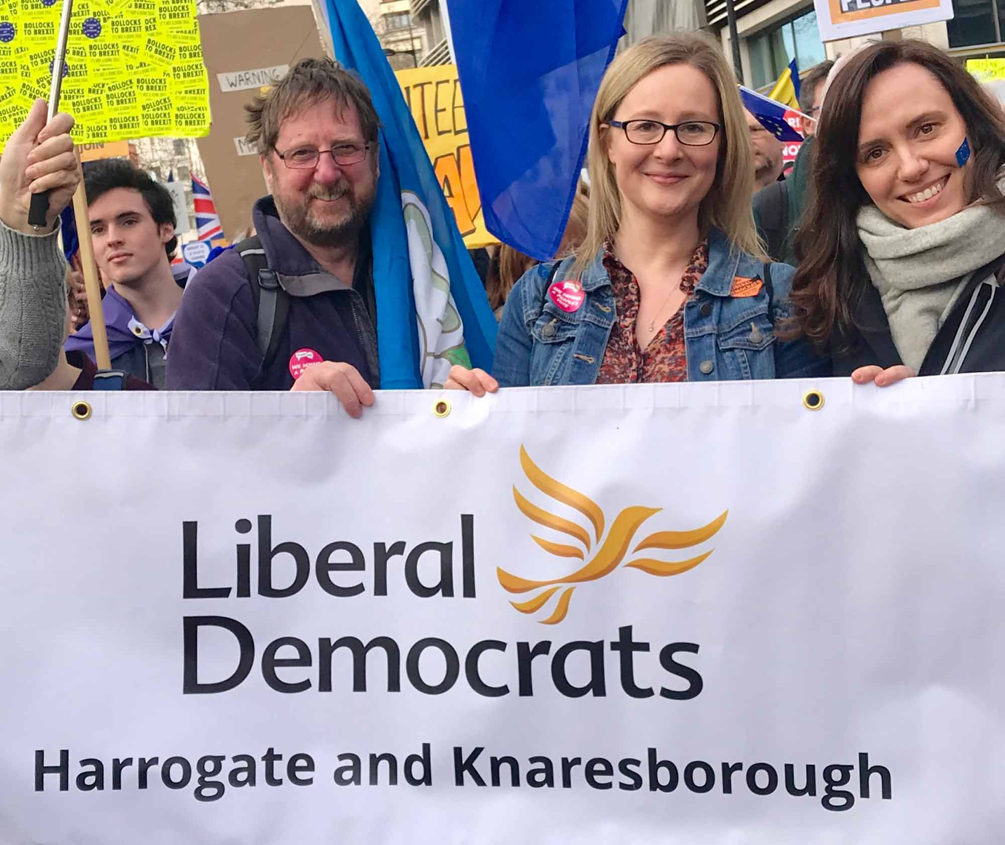 """Harrogate and Knaresborough Libdems join """"put it to the people"""" demonstration"""
