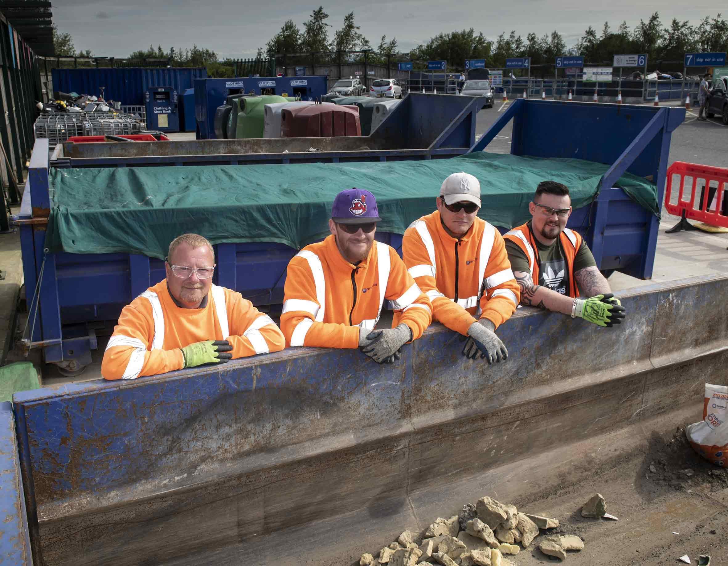 Household waste recycling centre team (from left) Russell Simpson, Brandon Livingstone, Jordan Brack and team leader James Emmett