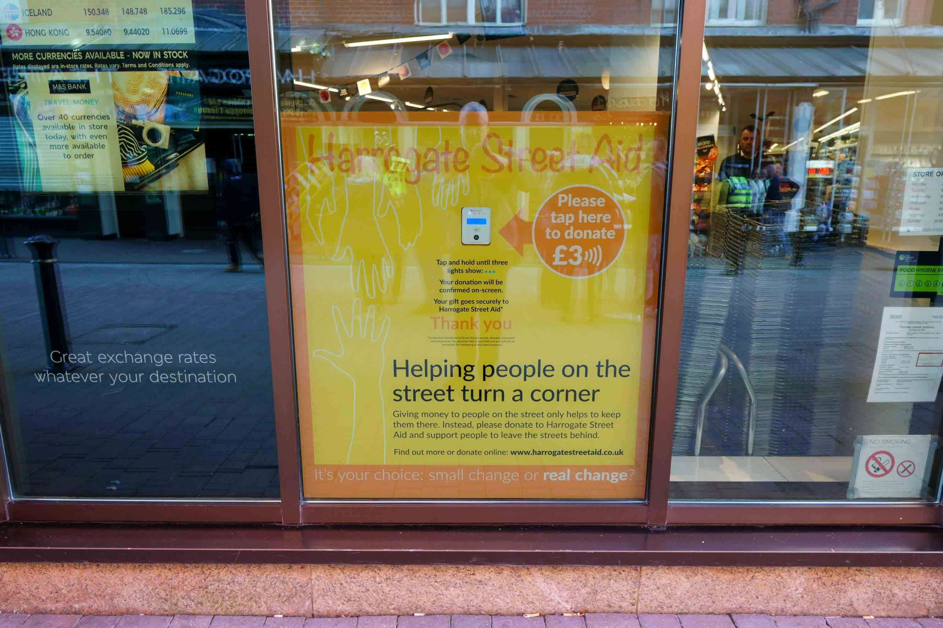 Contactless payment, Harrogate Street Aid launches