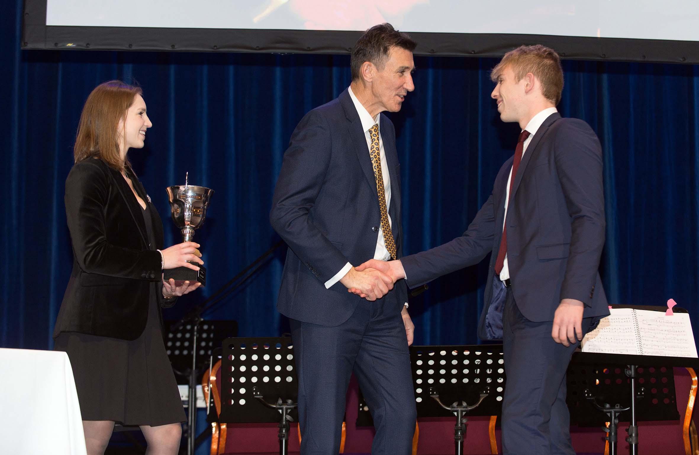 4. Ellie Rymer and Richard Sheriff, CEO of RKLT, presenting awards Harrogate Grammar